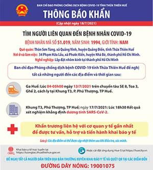 Thừa Thiên-Huế: Thông báo khẩn tìm người liên quan đến bệnh nhân COVID-19
