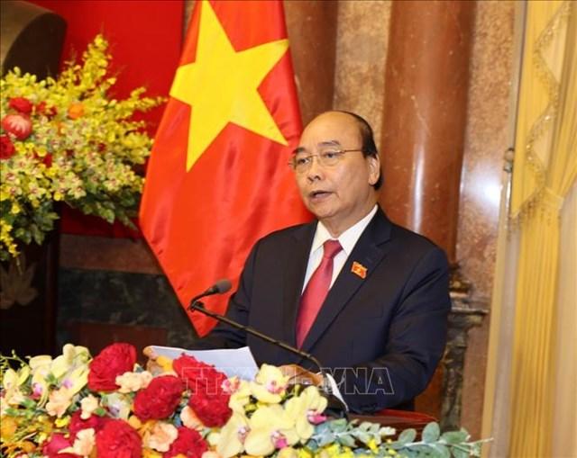 Chủ tịch nước Nguyễn Xuân Phúc phát biểu tại Lễ bàn giao. Ảnh: Trí Dũng/TTXVN