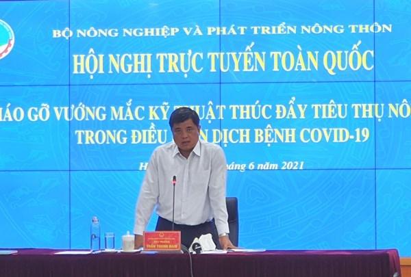 Thứ trưởng Trần Thanh Nam phát biểu tại Hội nghị Hội nghị trực tuyến toàn quốc về Tháo gỡ vướng mắc kỹ thuật thúc đẩy tiêu thụ nông sản trong điều kiện dịch bệnh Covid-19 (Ảnh: NLA)