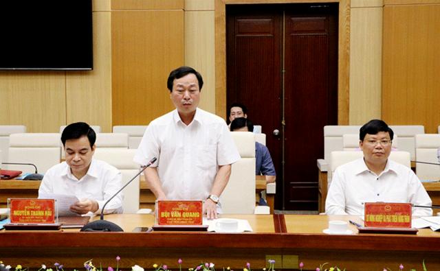 Chủ tịch UBND tỉnh Bùi Văn Quang cảm ơn sự quan tâm, tạo điều kiện của Bộ NN&PTNT đối với tỉnh Phú Thọ trong triển khai các công trình, dự án thủy lợi và phòng chống thiên tai thời gian qua
