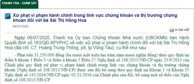 Ủy ban Chứng khoán Nhà nước phát đi thông báo xử phạt hành vi vi phạm hành chính đối vớibà Sái Thị Hồng Hoa.
