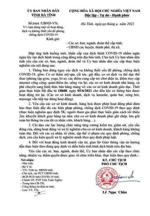 Văn bản chỉ đạo tạm dùng các dịch vụ không thiết yếu từ 10h ngày 5/6 của UBND tỉnh Hà Tĩnh
